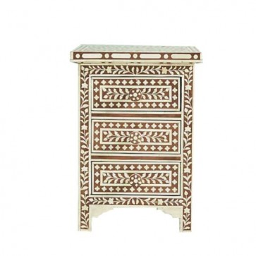 Brown Bone Inlay Floral 3 Drawer Bedside Table Handmade Bone inlay Furniture