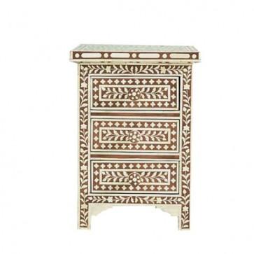 Brown Bone Inlay Floral 3 Drawer Bedside Table Handmade Bone inlay Furniture