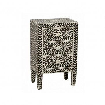 Black Bone Inlay Floral 3 Drawer Bedside Table Handmade Bone inlay Furniture