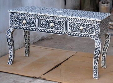 Bone Inlay Black Console Table 3 Drawer Modern Handmade Furniture Bone inlay