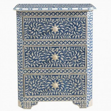 Handmade Bone Inlay Wooden Modern Floral Pattern Bedside with 3 Drawer Furniture .