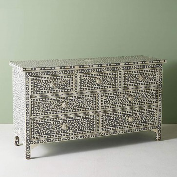 Handmade Bone Inlay Wooden Modern Floral Pattern Sideboard with 7 Drawer Furniture