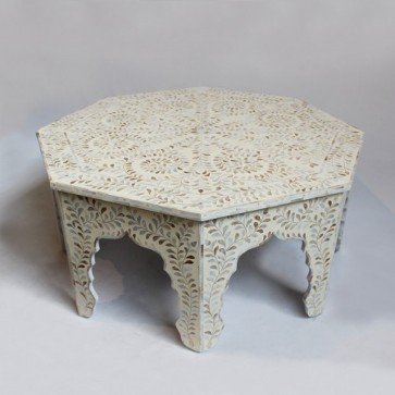 Handmade MOP Inlay Wooden Modern Floral Pattern Coffee Table Furniture.