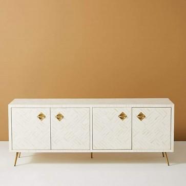 Handmade Bone Inlay Wooden Modern Pattern T.V Unit Furniture .