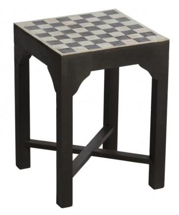 Handmade Bone Inlay Wooden Modern Blocks Pattern Stool Furniture.