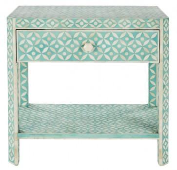 Handmade Bone Inlay Wooden Modern Geometric Pattern Bedside with 1 Drawer Furniture.