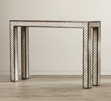 Handmade Bone Inlay Wooden Modern Mughal Pattern Console Table Furniture
