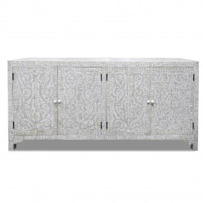 Handmade Bone Inlay Wooden Modern Floral Pattern Sideboard with 4 Door Furniture .