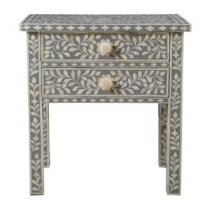Handmade Bone Inlay Floral Pattern Wooden Modern 2 Drawer Bedside Furniture