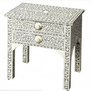 Handmade Bone Inlay Wooden Modern Floral Pattern Bedside with 2 Drawer Furniture.