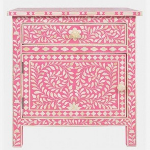 Handmade  Bone Inlay Floral Pattern  1 Drawer and 1 Door Antique Home Decor Bedside Furniture