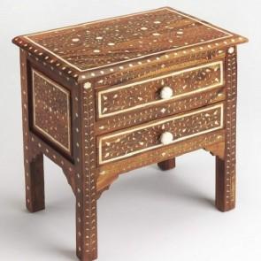 Handmade Bone Inlay Wooden Modern Antique 2 Drawer Bedside Furniture