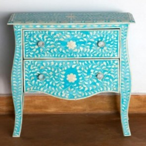 Handmade Bone Inlay Wooden Modern Floral Pattern  2 drawer Sideboard Furniture