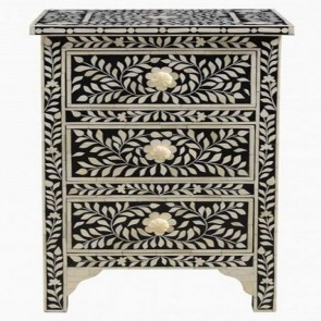 Handmade Bone Inlay Wooden Floral Pattern with 3 Drawer Bedside Furniture .