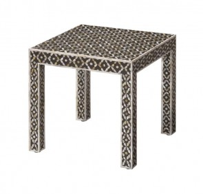 Handmade Mother Of Pearl Inlay Wooden Modern Geometric Pattern End Table Furniture.