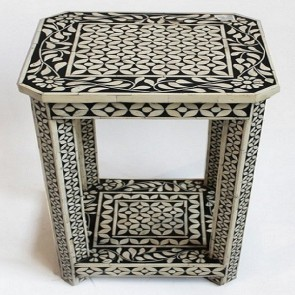 Handmade Bone Inlay Wooden Modern Side Table / Stool / End Table Furniture.