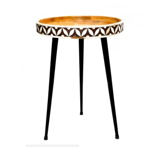 Handmade Bone Inlay Wooden Modern Pattern End Table Furniture with Iron Legs