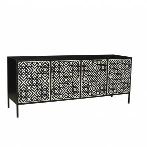 Handmade Bone Inlay Wooden Modern Pattern Sideboard with 4 Door Furniture .