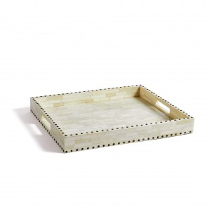 Handmade Bone Inlay Wooden Modern Bone Pattern Serving Tray Furniture