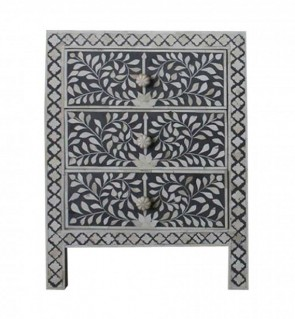 Handmade Bone Inlay Wooden Modern Floral Pattern with 3 Drawer Bedside Furniture.