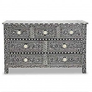 Handmade Bone Inlay Wooden Modern Floral Pattern Sideboard with 7 Drawer Furniture .