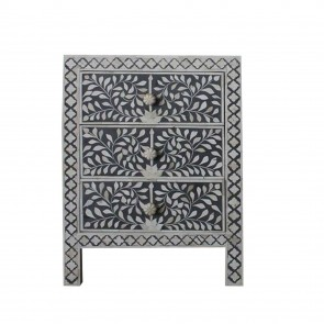 Handmade Bone Inlay Wooden Modern Floral Pattern Bedside with 3 Drawer Furniture.