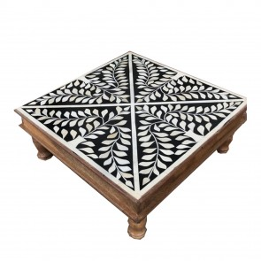 Handmade Bone Inlay Wooden Modern Floral Pattern Coffee Table Furniture.