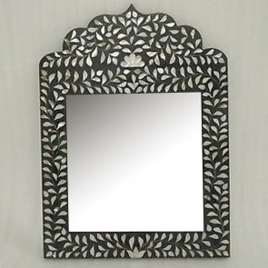 Handmade Mother of Pearl Inlay Wooden Modern Floral Pattern Mirror Frame Furniture