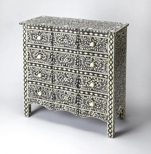 Handmade Bone Inlay Wooden Modern Floral Pattern Sideboard Furniture
