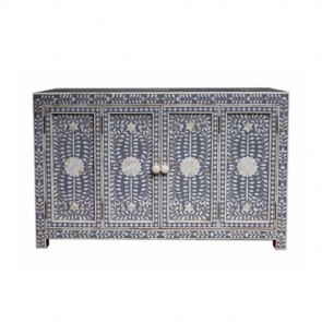 Handmade Bone Inlay Wooden Modern Floral Pattern Sideboard with 2 Door Furniture .