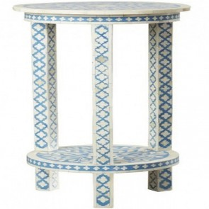 Handmade Bone Inlay Wooden Modern Side Table / Stool / End Table with Legs Furniture.