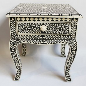 Handmade Bone Inlay Wooden Modern Floral Pattern Bedside with 1 Drawer Furniture .