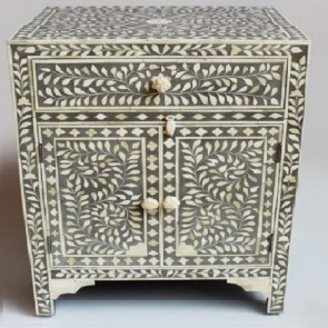 Handmade Bone Inlay Wooden Modern Floral Pattern Bedside with 1 Drawer and 2 Door Furniture .