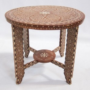 Handmade Bone Inlay Wooden Modern Floral Pattern End Table Furniture.