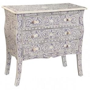Handmade Bone Inlay Wooden Modern Floral pattern 3 Drawer Bedside Furniture