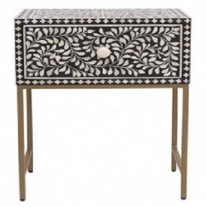 Handmade Bone Inlay Floral Pattern Wooden Modern 1 Drawer Bedside Furniture