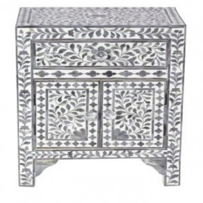 Handmade Bone Inlay Wooden Modern Floral Pattern 1 Drawer and 2 Door Bedside Furniture