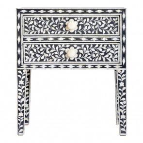 Handmade Bone Inlay Wooden Floral Pattern Handmade  2 Drawer Bedside Furniture