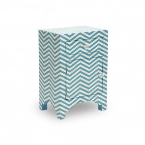 Handmade Bone Inlay Wooden Modern Striped Pattern Bedside with 1 Drawer and 1 Door Furniture .