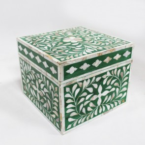 Handmade MOP Inlay Wooden Modern Floral Pattern Jewelry Box Furniture