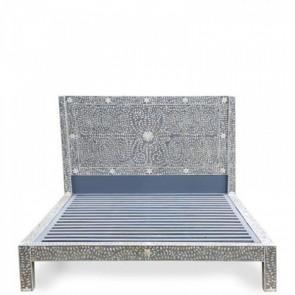 Handmade Bone Inlay Queen Size Bed Furniture