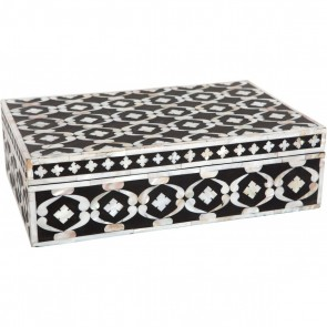 Handmade MOP Inlay Wooden Modern Geometric Pattern Jewelry Box Furniture