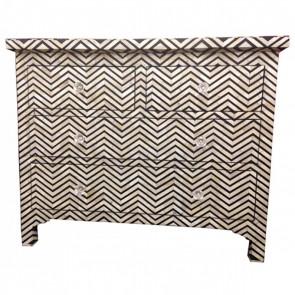 Handmade Bone Inlay Wooden Modern Striped Pattern Sideboard Furniture