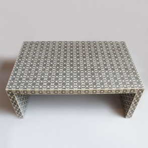 Handmade Bone Inlay Wooden Modern Geometric Pattern Coffee Table Furniture