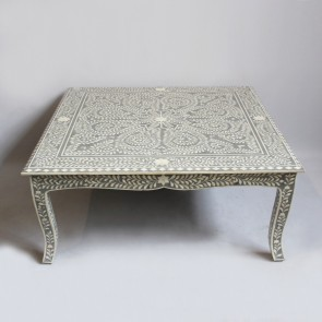 Handmade Bone Inlay Wooden Modern Floral Pattern Coffee Table Furniture .