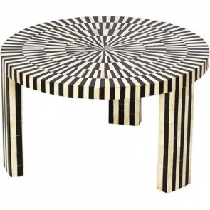 Handmade Bone Inlay Wooden Modern Striped Pattern Coffee Table Furniture .