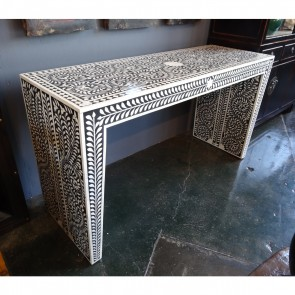 Handmade Bone Inlay Wooden Modern Floral Pattern Console Table Furniture .