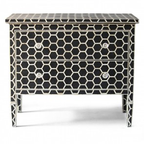 Handmade Bone Inlay Wooden Modern Hexagon Pattern Sideboard Furniture