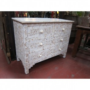 Handmade MOP Inlay Wooden Modern Floral Pattern Sideboard Furniture