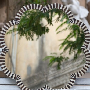 Handmade Bone Inlay Wooden Modern Pattern Mirror Frame Furniture.